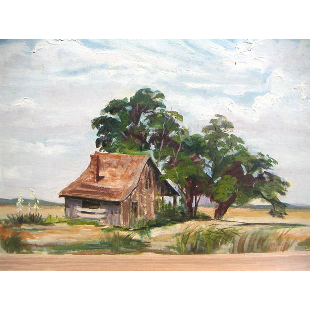 Arleen Huseby Mid-Century Texas Shack Painting For Sale - Image 4 of 5