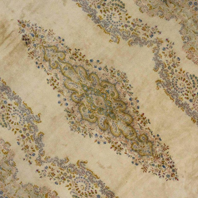 Textile Antique Persian Kerman Rug with Traditional Style in Light Colors For Sale - Image 7 of 10