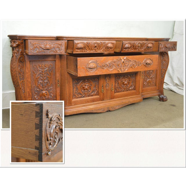 Late 19th Century Horner Antique Lion Carved Large Oak Sideboard For Sale - Image 5 of 13