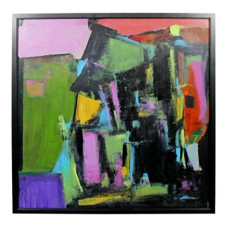 Contemporary Modern Framed Abstract Acrylic Canvas Painting Signed 2000s For Sale