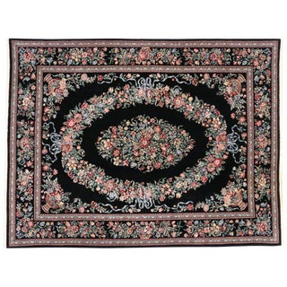"""Baroque Style Vintage Aubusson Garden Chinese Area Rug - 09'02"""" X 12'0"""" For Sale"""