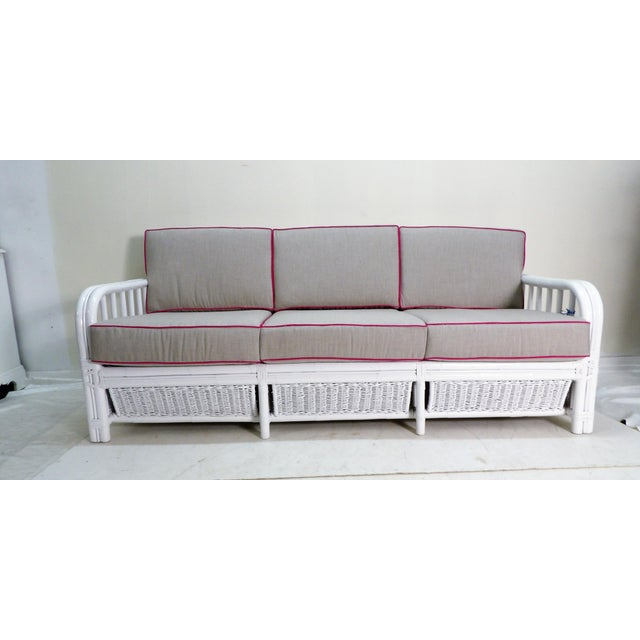 Vintage White Rattan Sofa, New Custom Gray Cushions For Sale In West Palm - Image 6 of 6