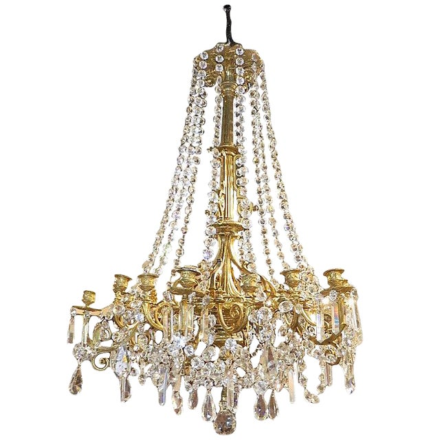 French Bronze Dore Eighteen Candle Chandelier With Crystals, 19th Century For Sale