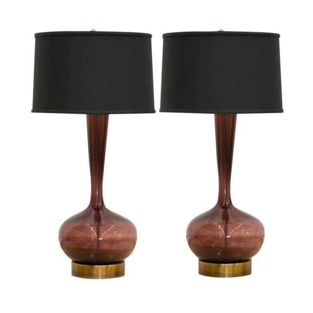 Handblown Murano Lamps, a Pair For Sale
