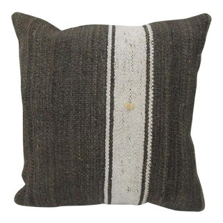 Vintage White Striped Turkish Kilim Pillow Cover For Sale