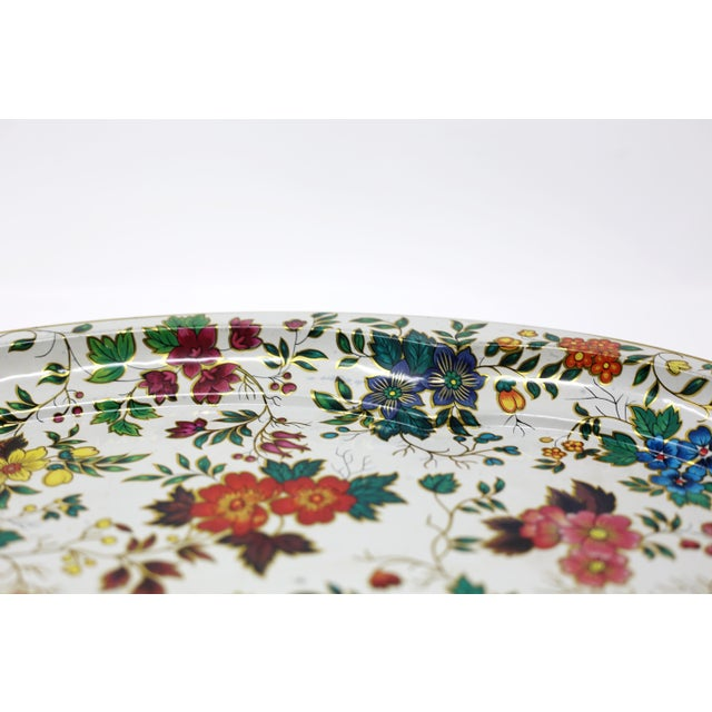 1970s Vintage Chintz Floral Metal Tray by Daher For Sale - Image 5 of 11