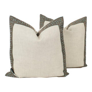 Teal and Oatmeal Greek Key Pillows, a Pair For Sale