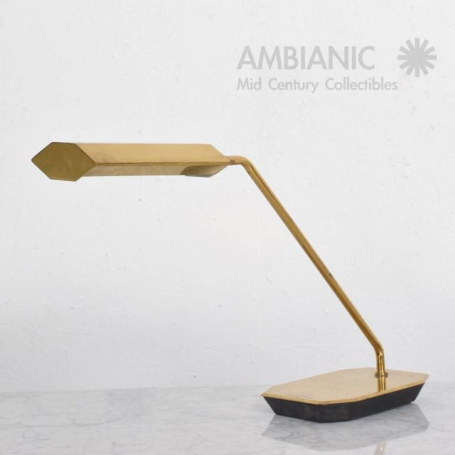 For your consideration a vintage desk or table lamp by Koch & Lowy. Brass with original patina, USA, circa 1970s....