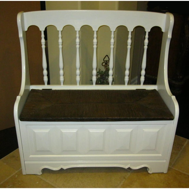 Tall-Back White Cottage Rush Seat Bench - Image 2 of 10