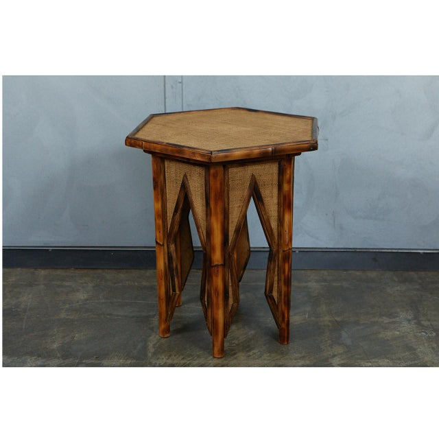 Jw Custom Line Tiger Bamboo Hexagonal Side Table For Sale - Image 4 of 6