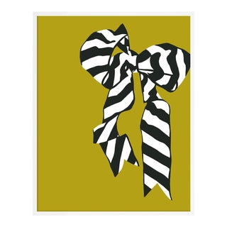 Green Bow by Angela Blehm in White Framed Paper, XS Art Print For Sale