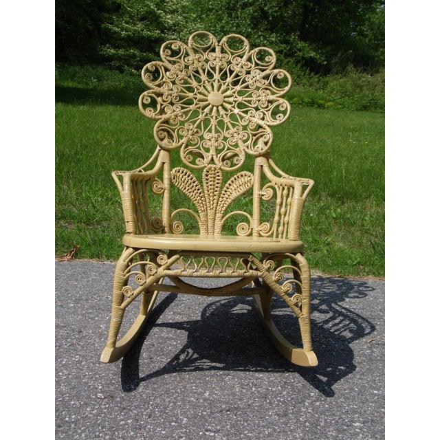 Wicker Antique Victorian Ornate Wicker Portrait Rocking Chair Rocker For Sale - Image 7 of 13