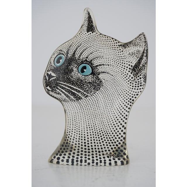 Transparent Vintage Abraham Palatnik Op Art Brazilian Cat Figurine Blue Eyes For Sale - Image 8 of 8