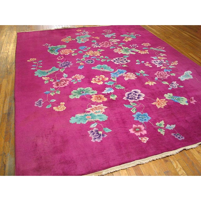 Up for sale is an Antique Chinese Art Deco rug with pink color and floral pattern