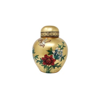 Large Gold Leaf Melon Jar With Birds and Flowers For Sale