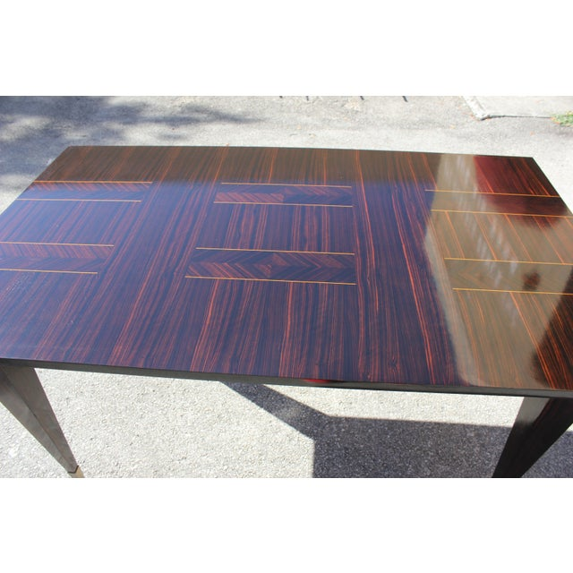 1940s Art Deco Exotic Macassar Ebony Writing Desk / Dining Table For Sale - Image 11 of 13