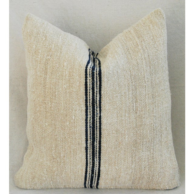 French Grain Sack Down & Feather Pillows - Pair - Image 6 of 11