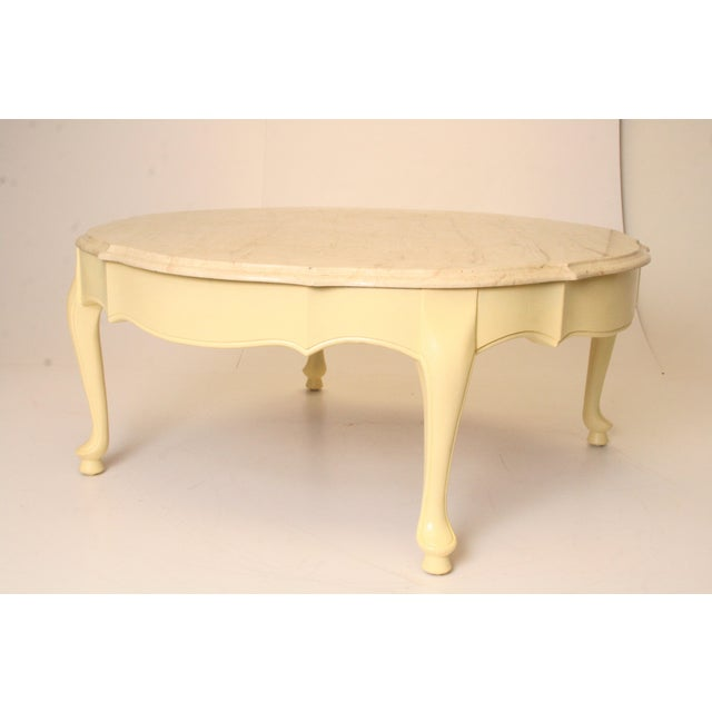 Vintage French Provincial Marble Top Round Coffee Table