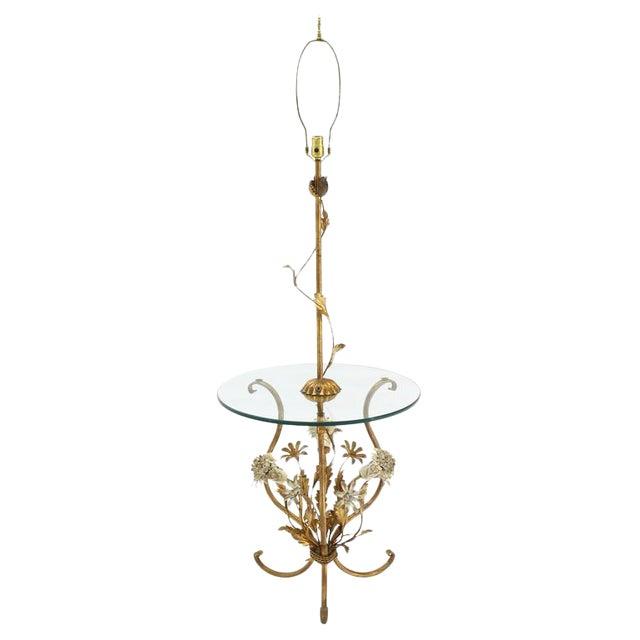 Decorative Gilt Metal Floor Side Table Lamp For Sale