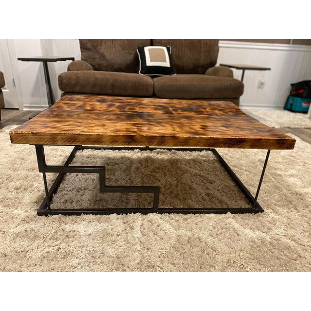 Farmhouse Modern Maple and Oak Wood Coffee Table For Sale - Image 3 of 6