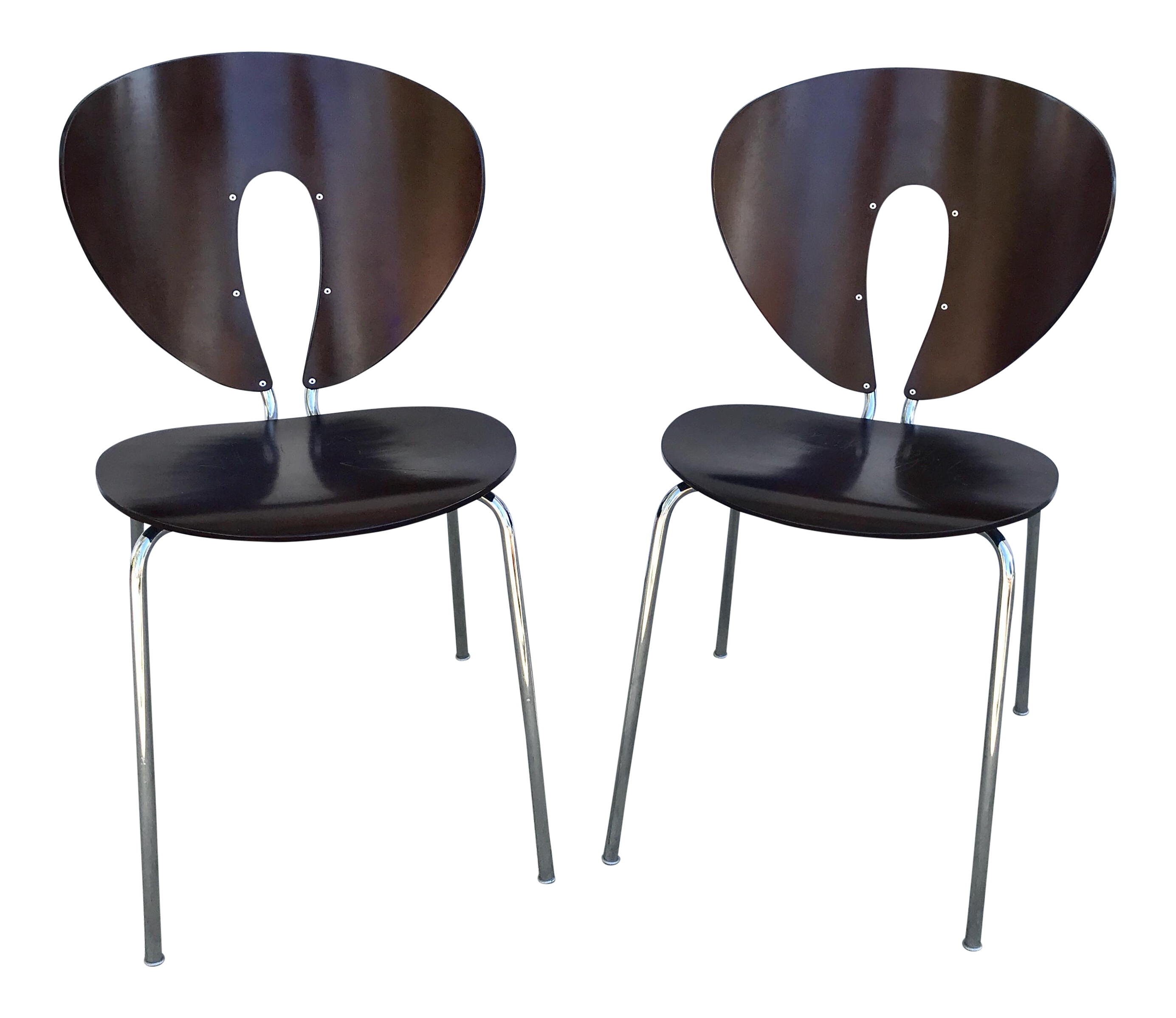 Jesus Gasca For STUA Brown Globus Chairs   A Pair
