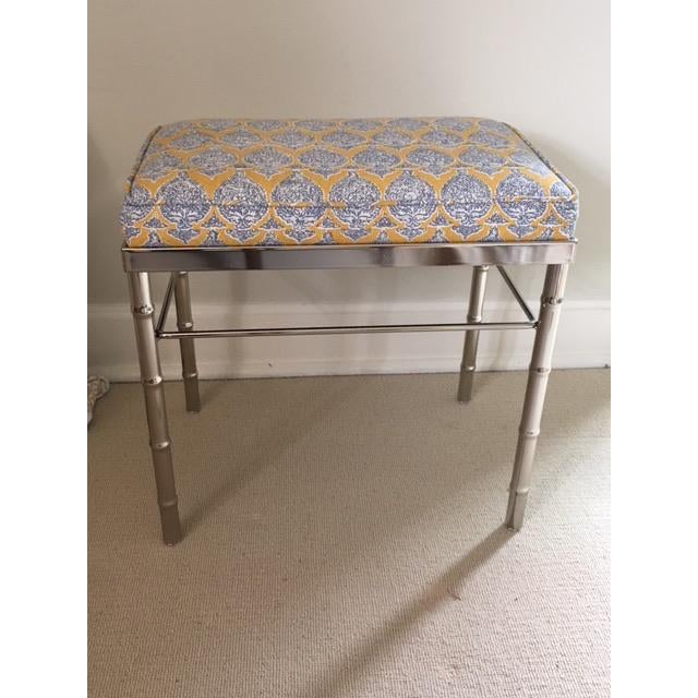Vintage Petite Raoul Textile Fabric Upholstered Chrome Bench For Sale In Denver - Image 6 of 6