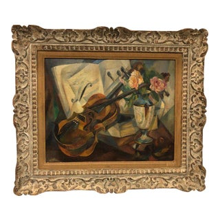"Cubist Still Life ""Violin"" by Agnes Weinrich, Signed, Dated 1922"