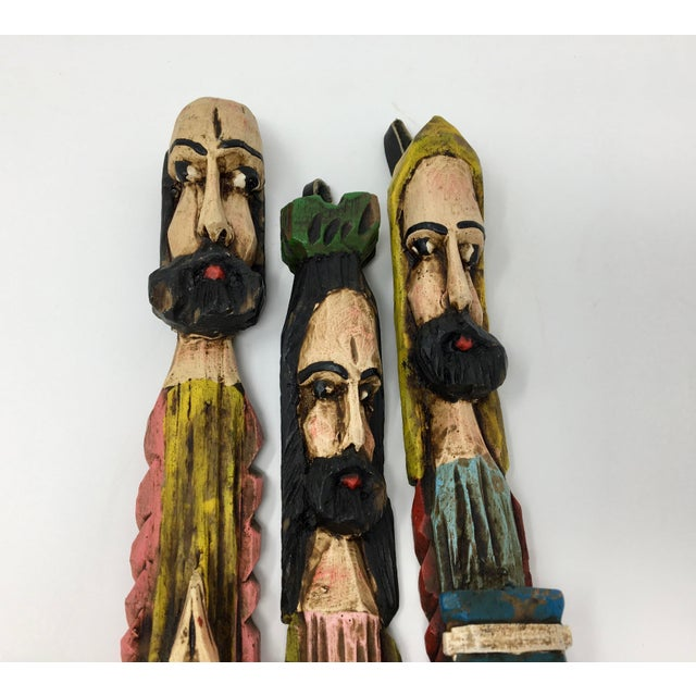 Folk Art Vintage Folk Art Hand Carved and Painted Christmas Wise Men - Set of 3 For Sale - Image 3 of 10
