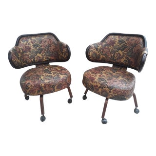 1920's Wingback Swivel Chairs - A Pair For Sale