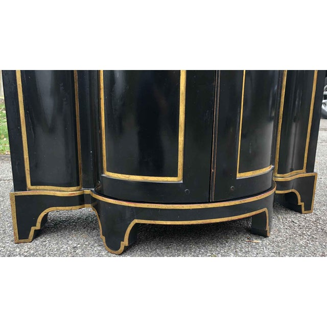 Baker Chinoiserie Black Lacquer Demi-Lune Commode For Sale - Image 11 of 13