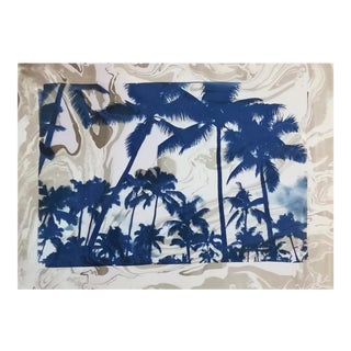 Palm Tree Cyanotype With Grey and Violet Sumi Ink Marbling on Watercolor Paper, 50x70 Cm, Unique For Sale