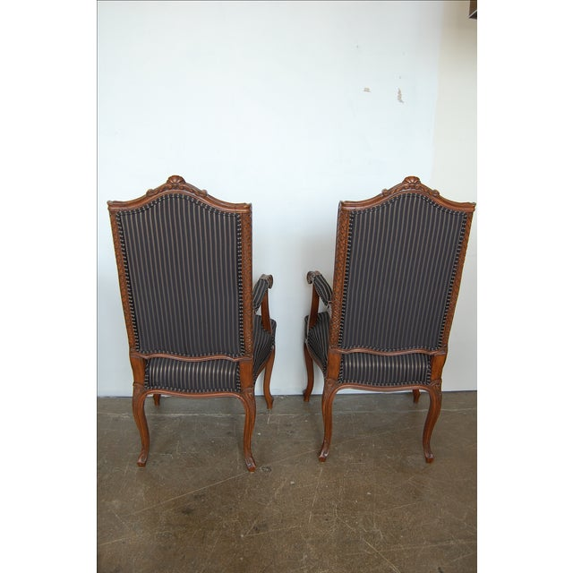 Louis XV French Pinstripe Carved Fauteuils - Pair - Image 6 of 9