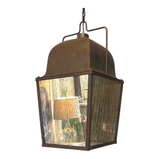 Vintage Hanging Lantern - Patinated Metal and Mercury Glass For Sale