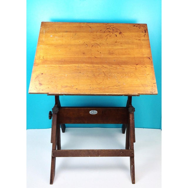 Sit down behind this vintage Anco Bilt drafting table and get inspired! Vintage Anco Bilt Wood & Cast Iron Adjustable...