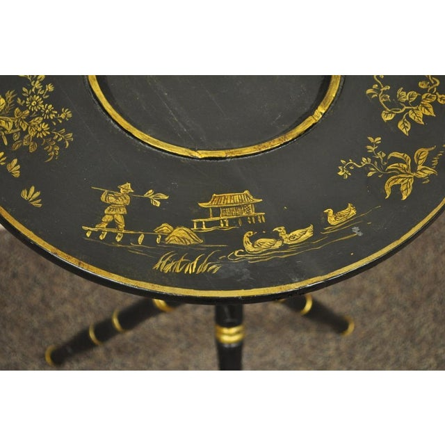 Antique Victorian English Decorated Faux Bamboo Tripod Occasional Side Table For Sale - Image 9 of 11