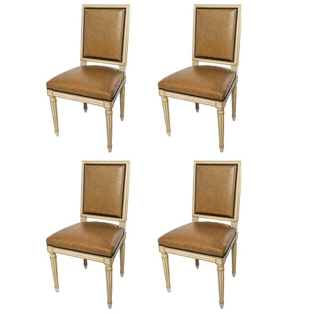 Square Back Louis XVI Dining Chairs Covered in a Tan Leather - Set of 4 For Sale In Washington DC - Image 6 of 11