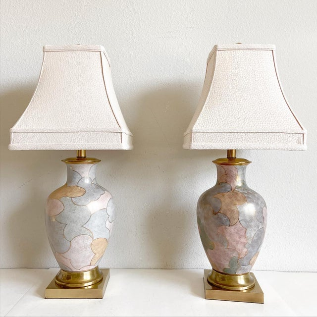 Stunning pair of mid-century porcelain urn desk or table lamps by Frederick Cooper, Chicago featuring hand-painted...