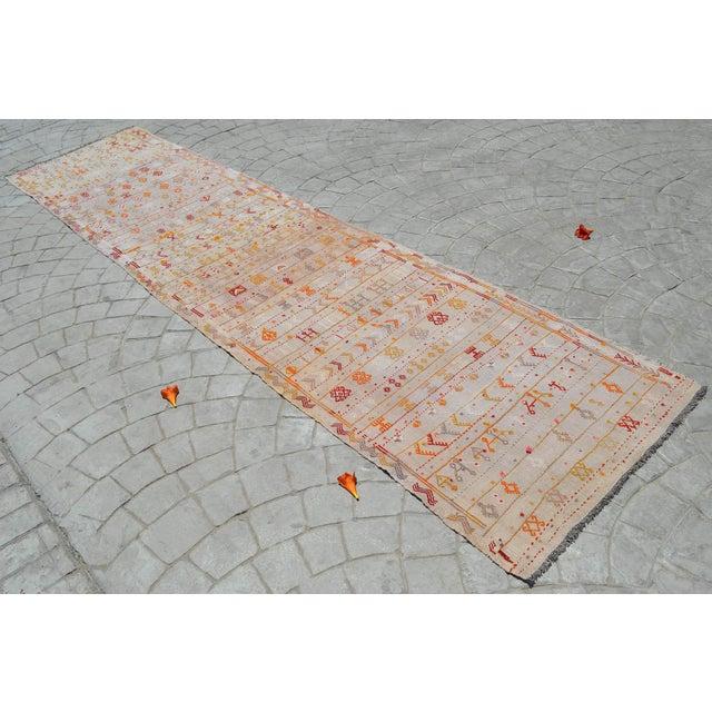 Turkish Antique Handmade Kilim Runner Rug Masterwork Cotton Jajim Hallway Decor - 2′9″ × 11′9″ For Sale - Image 3 of 12