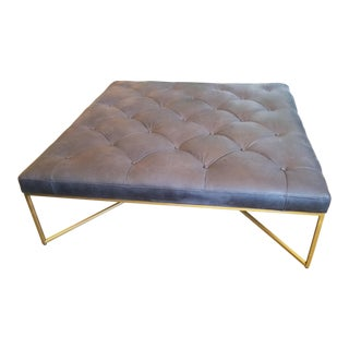 Black Leather Tufted Square Ottoman on Brass Legs