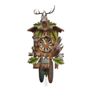 German Black Forest Cuckoo Hunter Clock For Sale