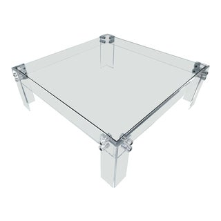 Lucite Square Cocktail Table With Glass Top, Vintage For Sale