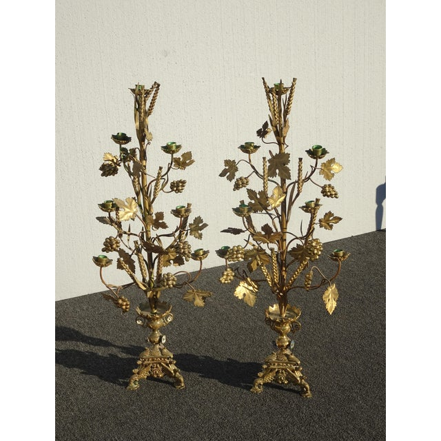 """French Pair Tall 36""""h Vintage Gold Table Top Floral Candelabras Brass Candle Holders Light For Sale - Image 3 of 13"""