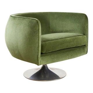 Green Velvet Swivel Chair on Pedestal Base For Sale