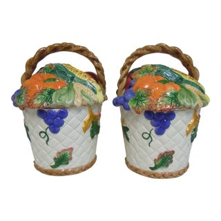Fitz & Floyd Vegetable Fruit Basket Canisters - A Pair