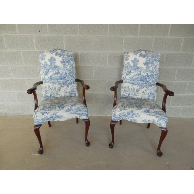 Blue Toile Arm Chairs - A Pair - Image 5 of 10