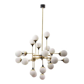 Grand Scale Twelve Arm Brass Chandelier in Stilnovo Style For Sale