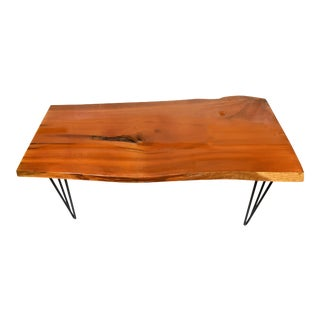 Modern Natural Free Live Edge Slab Coffee Table With Hairpin Legs For Sale