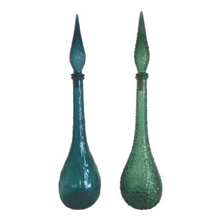 Vintage Mid Century Modern Italian Colored Blown Glass Tall Bottles - a Pair For Sale