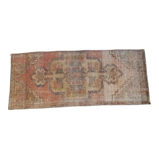 1960s Vintage Mini Oushak Rug- 1′5″ × 3′5″ For Sale