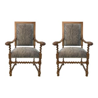 Currey & Co. Transitional Madrid Chairs Pair For Sale